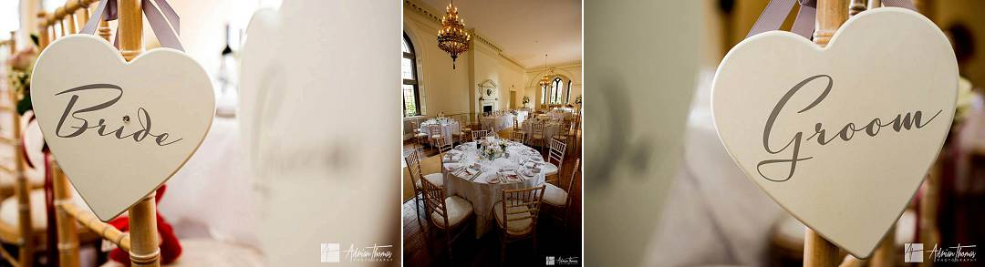 Details of wedding reception chairs.