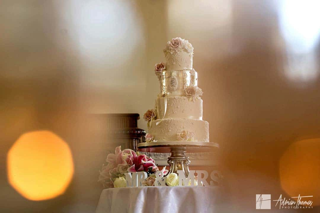 Image of cake at Clearwell Castle wedding reception.