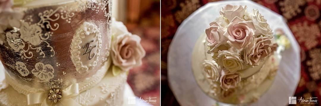 Wedding cake details closeup.