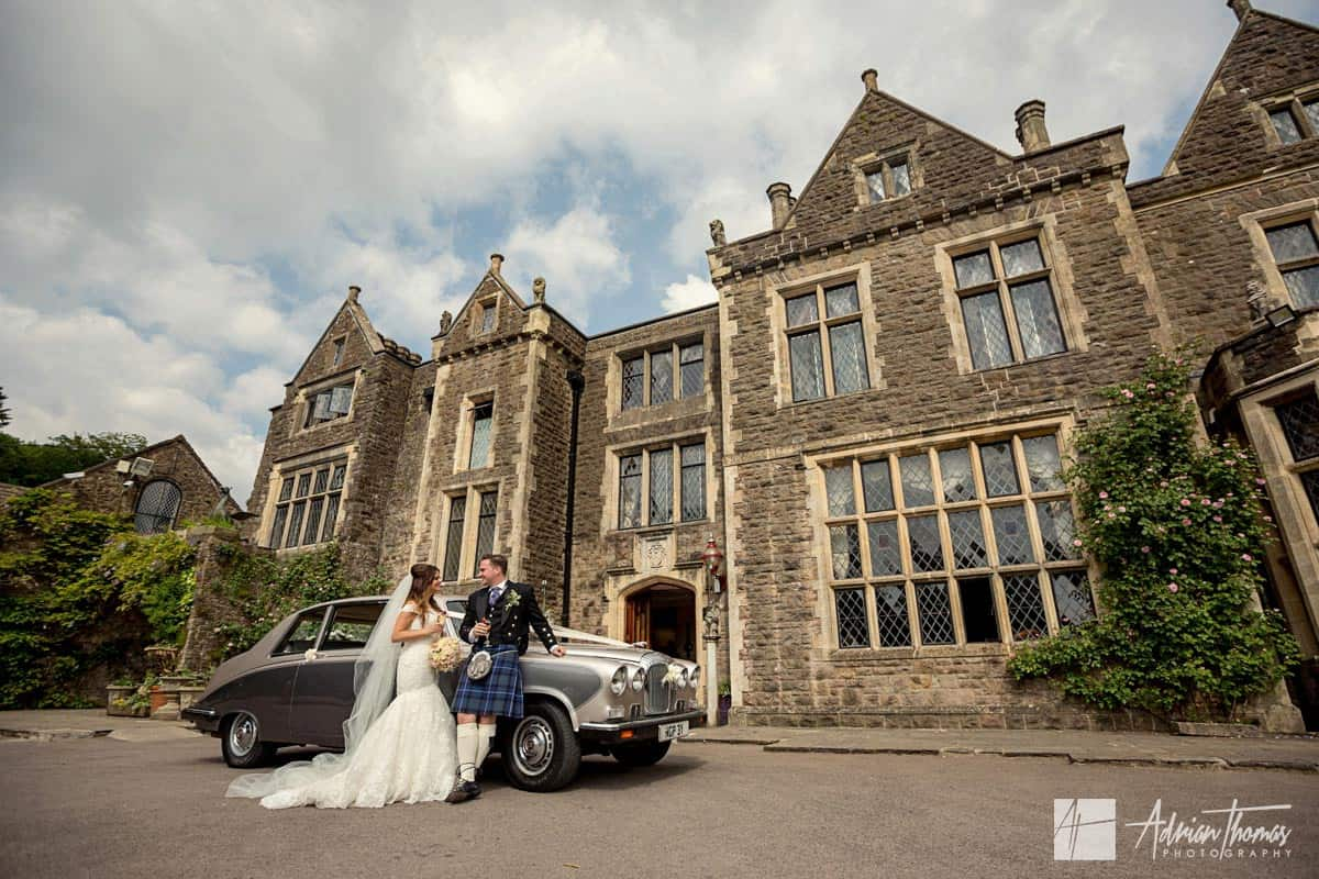 Bride and Groom outside Miskin Manor wedding venue.
