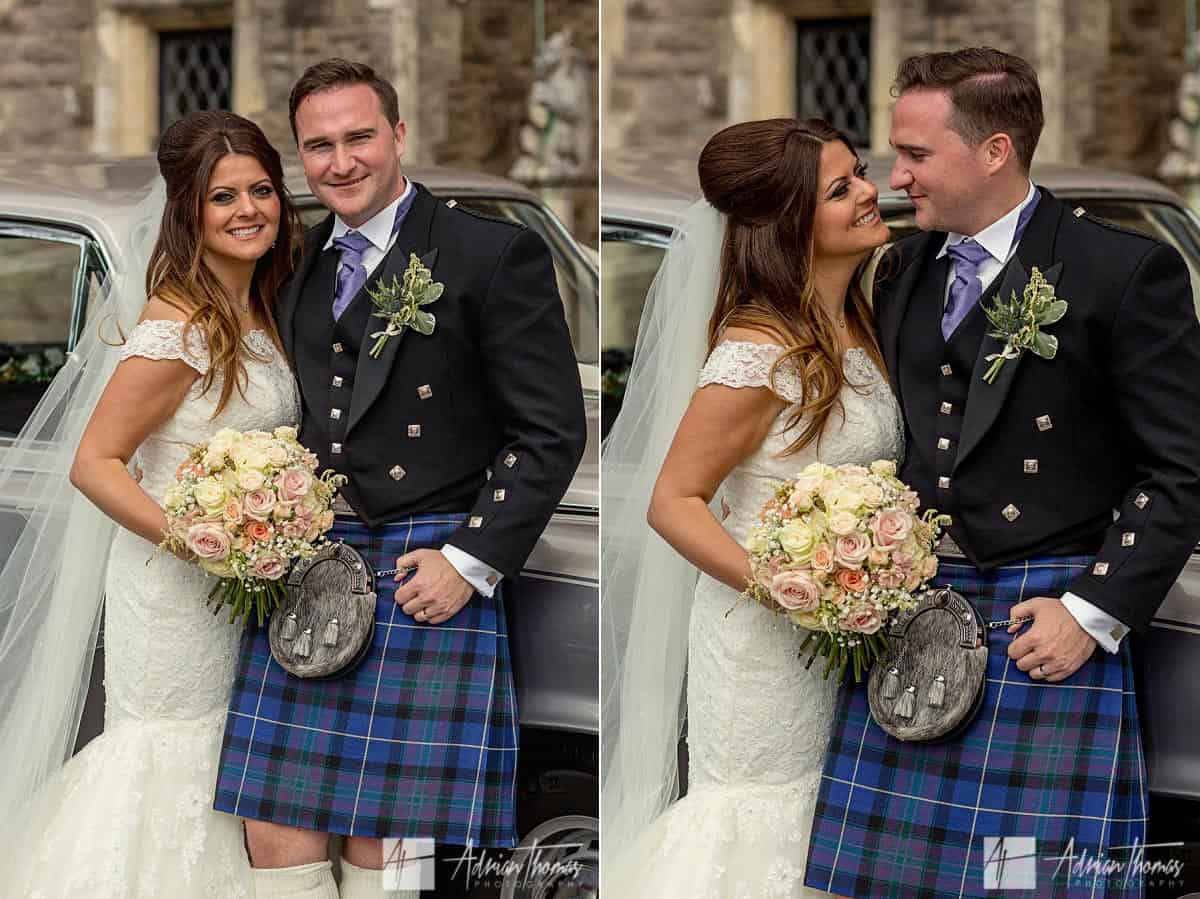 Bride and groom outside Miskin Manor wedding venue