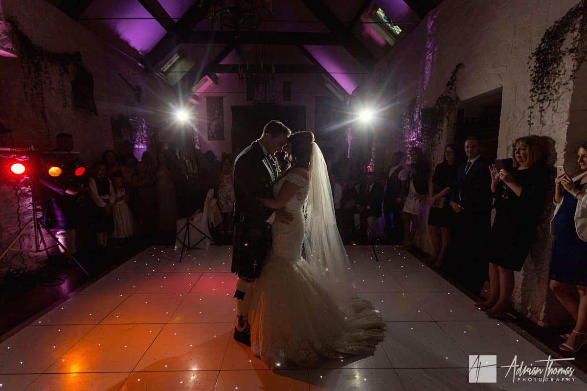 First dance during Miskin Manor wedding reception evening party.