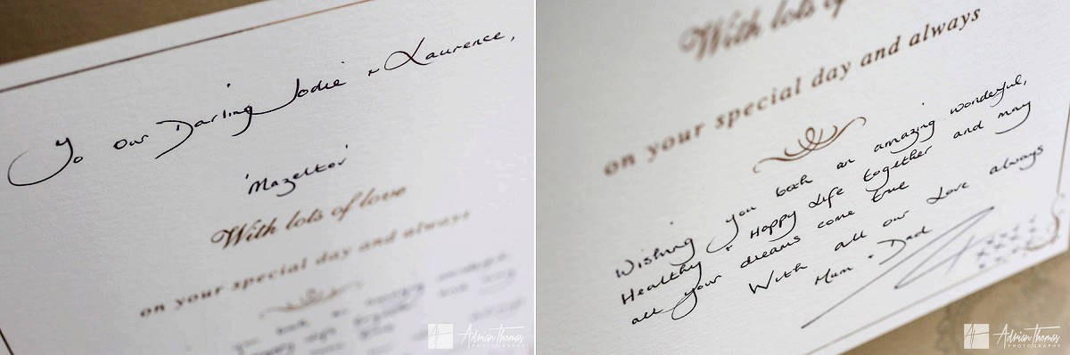 Signed wedding day card.