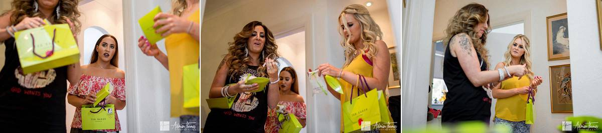 Bridesmaids receiving gifts designed by Ted Baker from bride.