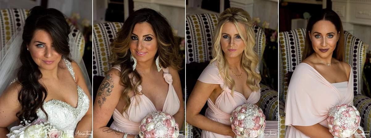 Beautiful portraits of Jewish wedding City Hall Cardiff bridesmaids and bride.