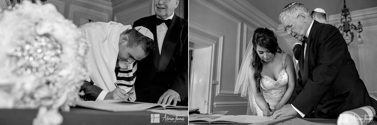 Bride and groom signing of the register.