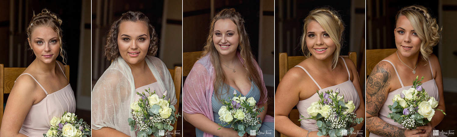 Images of 5 bridesmaids.