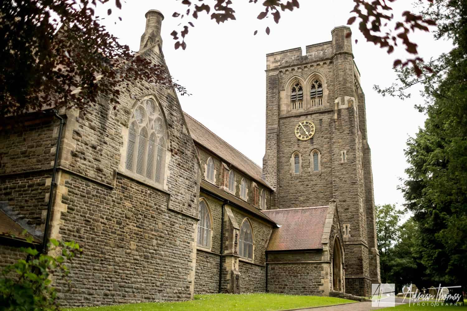 St Martin's Church in Caerphilly before wedding ceremony.