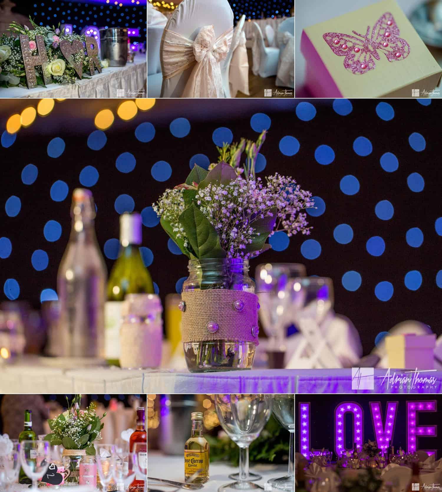 Table decor inside Maes Manor Hotel wedding reception.