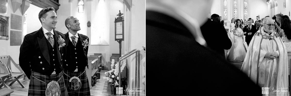Bride walking towards her groom inside Ystrad Mynach Church
